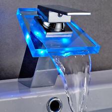 Rubinetto Bagno Luce LED Cascata Miscelatore Lavabo Ottone Cromato 3 Color Vetro