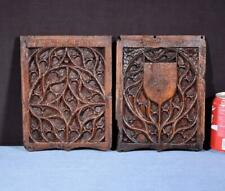 *17th Century Pair of French Antique Gothic Panels in Solid Oak Wood Salvage