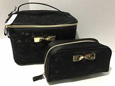 Victoria's Secret Hanging Travel Train Case & Cosmetic Bag Black Lace Gold Bow