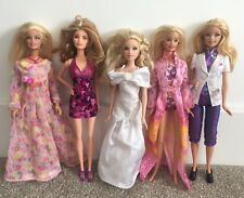 5 Pretty Barbie Dolls - With Clothes, Dresses / Outfits Bundle -