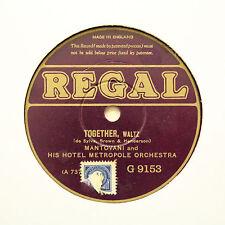 "MANTOVANI & HIS HOTEL METROPOLE ORCHESTRA ""Together"" REGAL G-9153; Rare! [78]"