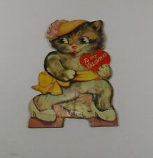 "Vintage 1940's Valentine Card Kitten In Hat Heels Ribbon & Bow 3 3/4"" x 2 1/4"""
