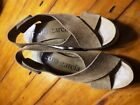 Shoes Sandal Open Toe Pedro Garcia Denia Crisscross Wedges Sz 36 6M Camel