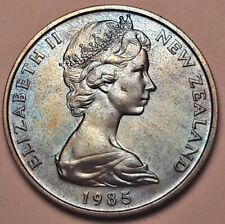 1985 NEW ZEALAND 10 CENTS BU UNC BEAUTIFUL COLOR TONED COIN