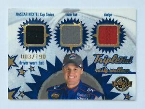 Rusty Wallace 2005 Wheels Triple Hat 3 Color NASCAR Race Used Relic Card
