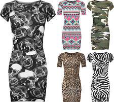 62804bb907129c WOMENS LADIES SHORT SLEEVE CAMO AZTEC LEOPARD PRINT TUNIC TOP BODYCON MINI  DRESS
