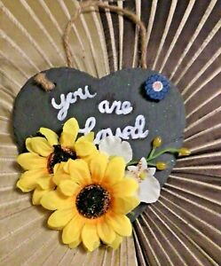hanging slate heart you are love