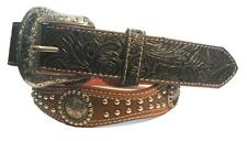 Western Mens Belt Conchos Scallop Studded Brown Sz 36