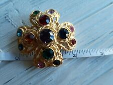 "Vtg Maltese Cross Brooch Multi-Color Rhinestones Runway style Domed 2"" Round"