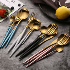 4pcs Iridescent Fork Spoon Stainless Cutlery Set for Dining UK