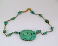 Antique Chinese Sterling Carved Turquoise Pendant Necklace with Turquoise Beads