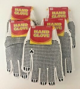 2-4-6 Pairs White/Black Garden/Work Latex Hand Gloves-W Crinkle-Unisex-One Size