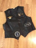 Genuine Leather USA Motorcycle Vest Women's sz 18 w/ Harley Patch Sturgis Pins