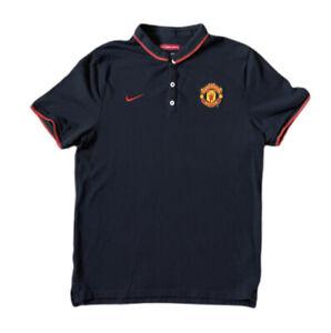 Men's Nike Manchester United Black Sz L Polo Short Sleeve Soccer Football