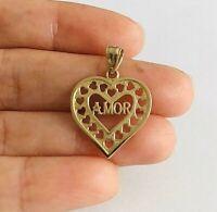 14K Solid Yellow Gold Heart Love Pendant /Oro Real Dije de Corazon Amor - PT1862