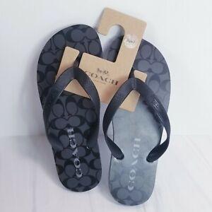 NWT COACH Women's Zak Flip Flop Signature Rubber Slides Black Gray FG3434 US 7B