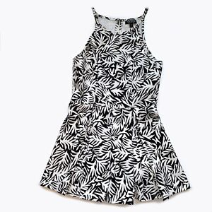 TOPSHOP Womens Black White Floral Sleeveless romper playsuit jumpsuit Size 4