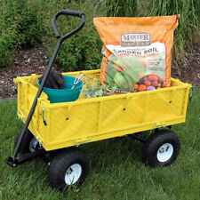 Sunnydaze Outdoor Yellow Utility Garden Cart with Folding Sides and Liner Set
