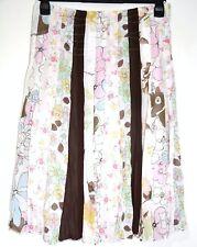 Stunning Per Una M&S White Cotton Panel Skirt Spring Summer Flowers 12 Georgette