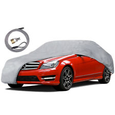 "Multi-Layer Car Cover Protects From UV Dust Debris (190"") w/ Lock"