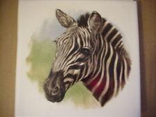 "Decorative ceramic tile, white background with zebra head on it; 6"" x 6"""