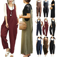 Womens Cotton Linen Casual Jumpsuit Dungarees Playsuit Long Trousers Overalls US