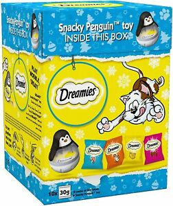 Dreamies Cat Gift Set 300g (10 x 30g Treat Bags + 1 Penguin Toy) BB: 24/2/22