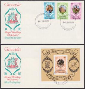 Grenada #1051-1055, 1055b 1st Day Covers 1981 Royal Wedding Charles Diana (T_20)