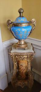 Antique Large French Blue Paris Sevres Porcelain Bronze Brass Louis XV URN VASE