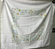 """Vintage Small Tablecloth Blue Flowers Motif 45"""" x 42"""""""