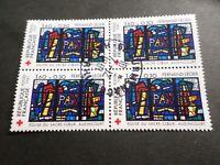 FRANCE BLOC timbres 2176 CROIX ROUGE, oblitéré 1981 cachet rond, QUARTINA