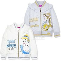 Disney Princess Girls Warm zipped Jumper Cardigan Top 95% Cotton 2-6 Years Shiny