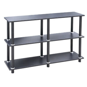 Black Console Table 3Tier Shelf Rack Side Storage Display TV Stand Shelving Unit