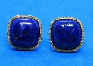Ross-Simons Square Lapis & .20 TCW Diamond Earrings in 14K Yellow Gold w/ Box