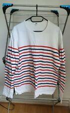 Uniqlo Washed Striped Long Sleeve T-Shirt White - Large
