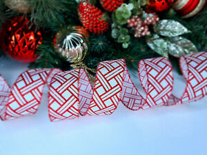 CHRISTMAS WIRED EDGE RIBBON 1.5 IN WIDE GLITTER STRIPE TREE WRAP GIFT WRAPPING