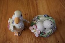 Fitz and Floyd Garden Rhapsody Salt Pepper Duck Eggs Easter Nib!