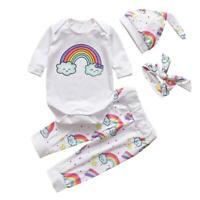 4pcs Baby Girls Boys Clothes Set Rainbow Romper+Pants+Hat+Headband Outfits NEW