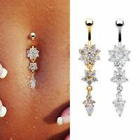 Belly Button Rings Crystal Rhinestone Flower Jewelry Navel Bar Body Piercing