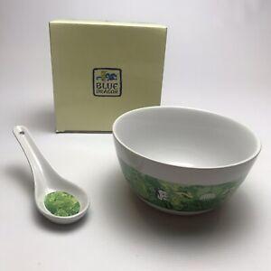 Blue Dragon Noodle Bowl Spoon Ceramic Ramen Soup Bowl Green Asian Chinese Japan