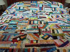 "Handmade Large Size Piecing Crazy Patchwork Quilt-76"" X 84"""
