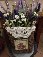 Grapevine Pocket Basket Summer Purple Floral Wreath ~ Home Decor