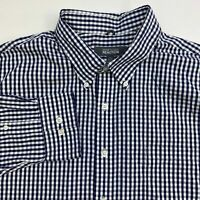 Kenneth Cole Reaction Button Up Dress Shirt Men's 18-18.5 Long Sleeve Gingham