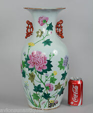 43cm Qing Dynasty Chinese Porcelain Vase Chrysanthemum Flowers Calligraphy