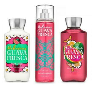 Bath & Body Works HIBISCUS GUAVA FRESCA Fragrance Mist Body Lotion Wash 3 PC SET