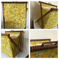 Vtg Mid Century Folding Fabric/Wood Sewing Basket Green Yellow Flowers 16 x 14in