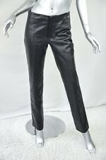 GUCCI Womens Black Leather Straight Button Down Pants Fitted Slacks Trousers 40
