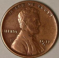 1911 S  LINCOLN WHEAT PENNY, CENT,  LESS THAN 5  MILLION MADE,  AA-628