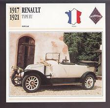 1917-1921 Renault Type EU France Car Photo Spec Sheet Info CARD 1918 1919 1920
