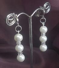 Perlen Ohrringe Ohrclipse  weiß Damen Ohrclipse Crackle Perlen NEU